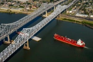 Aerial Photography of Ships in the Mississippi River